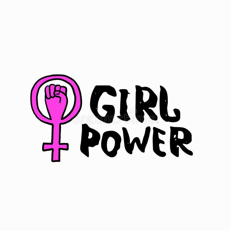 女孩力量衬衣金星行情字法集合 库存例证