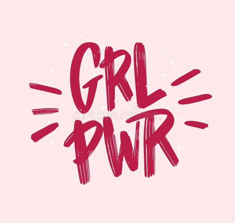 女孩力量题字手写与明亮的桃红色生动的字体 GRL PWR手字法 女权口号、词组或者行情 库存例证