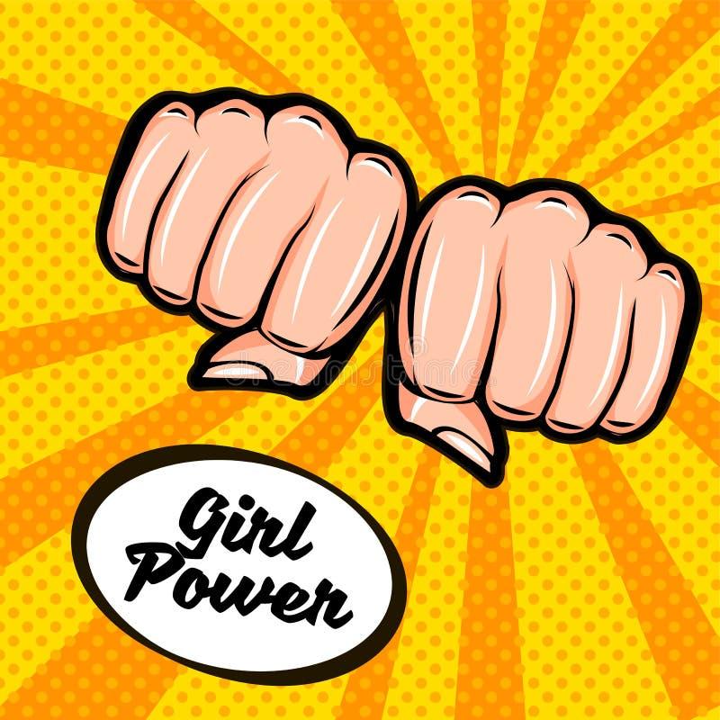 女孩力量 女权主义标志 女性拳头,乱画五颜六色的减速火箭的海报仿照流行艺术样式 库存例证