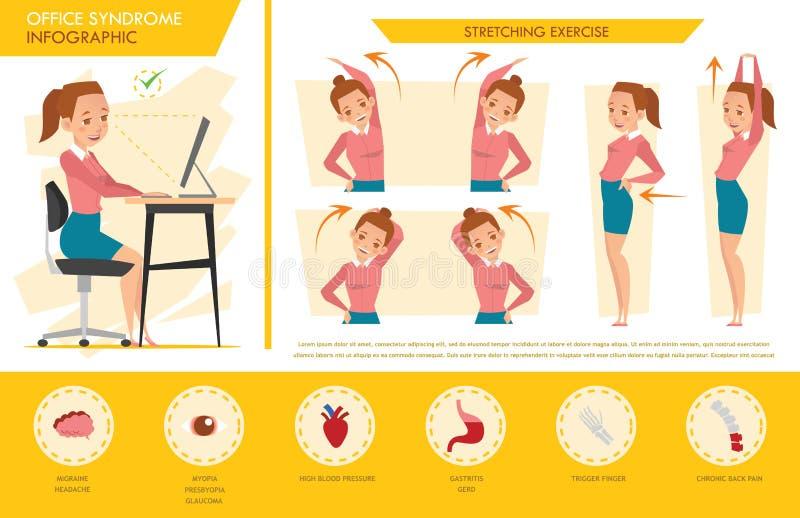 女孩办公室综合症状信息图表和舒展锻炼 向量例证