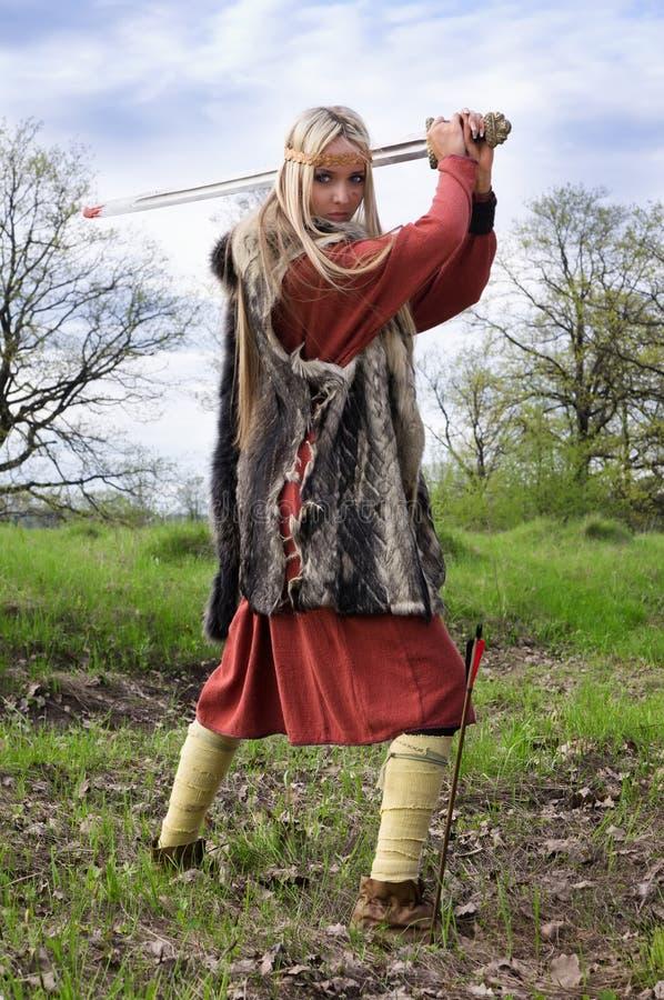 女孩北欧海盗战士 库存照片