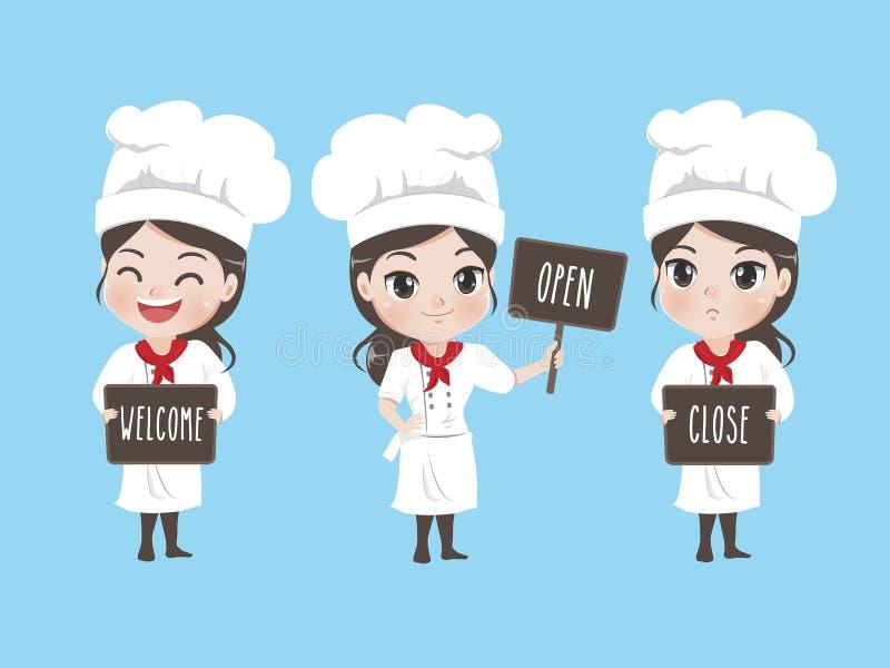 女孩厨师拿着标志 皇族释放例证