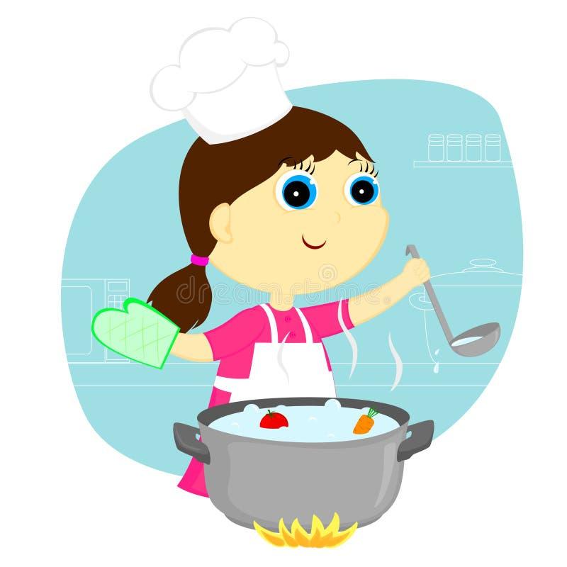 女孩厨师 皇族释放例证