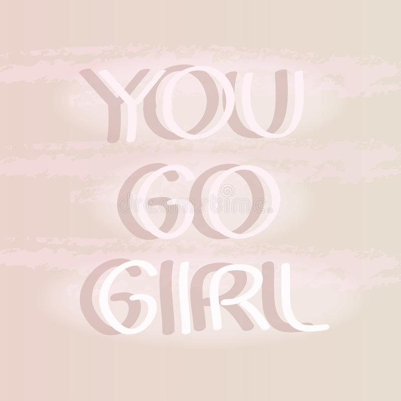女孩去您 手设计的字法印刷品- T恤杉,明信片,袋子海报,印刷品 皇族释放例证
