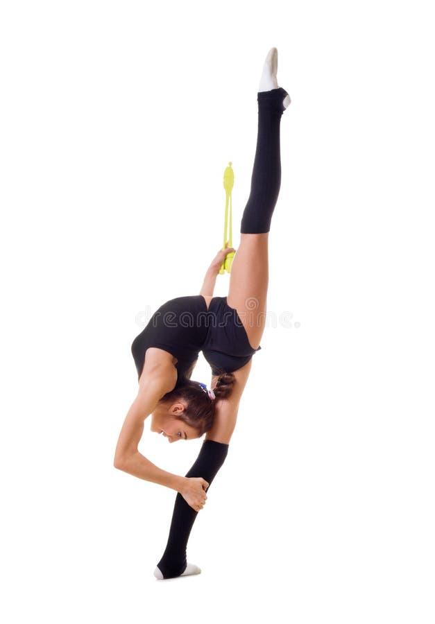 女孩参与艺术体操被隔绝 免版税图库摄影