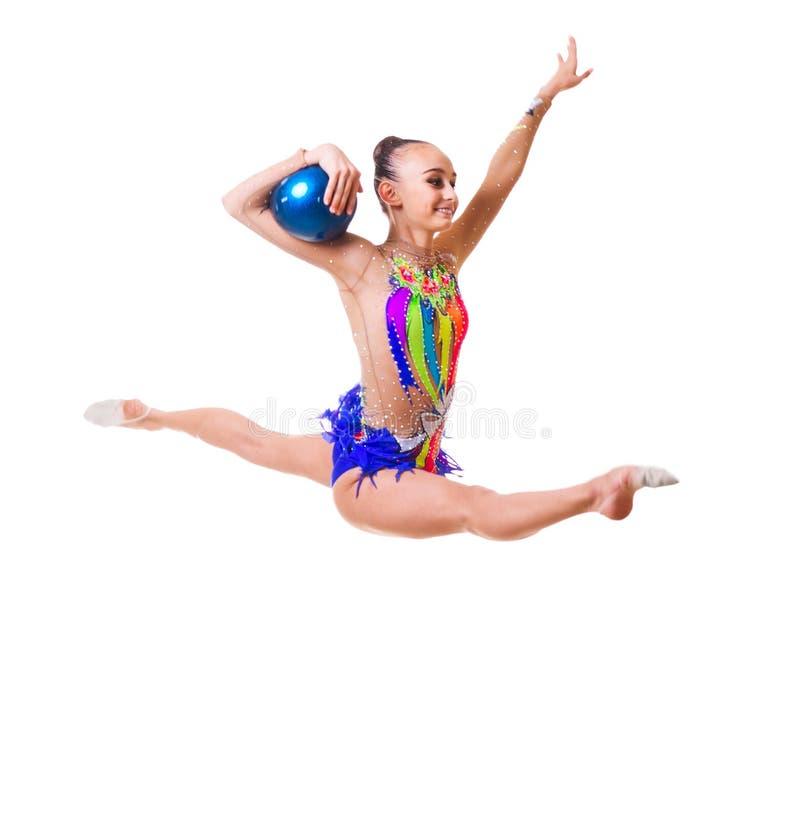 女孩参与艺术体操被隔绝 免版税库存照片