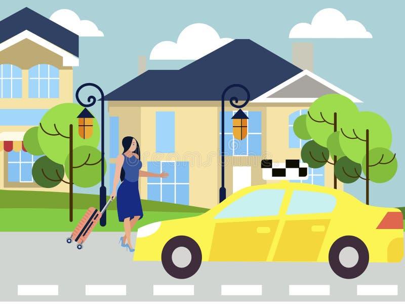 女孩叫出租汽车,在城市街道下的步行对汽车 r 库存例证