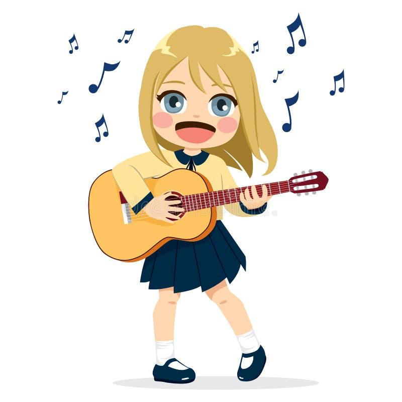 女孩吉他使用 皇族释放例证