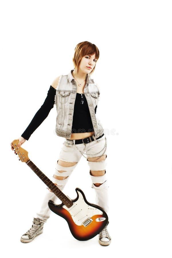 女孩吉他年轻人 免版税库存照片