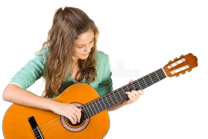 女孩吉他年轻人 免版税库存图片