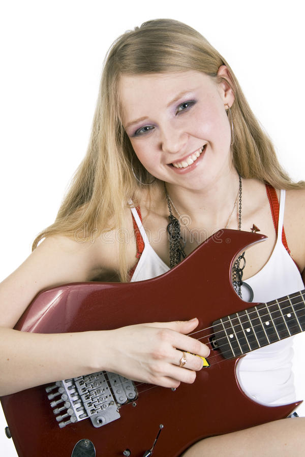 女孩吉他演奏员 库存图片