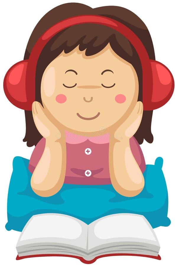 女孩听的音乐和阅读书 向量例证