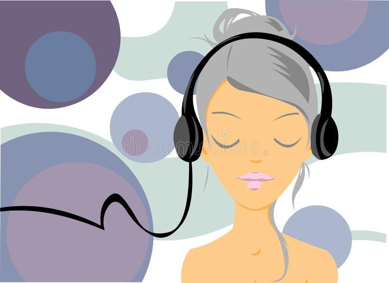 女孩听的音乐 库存例证