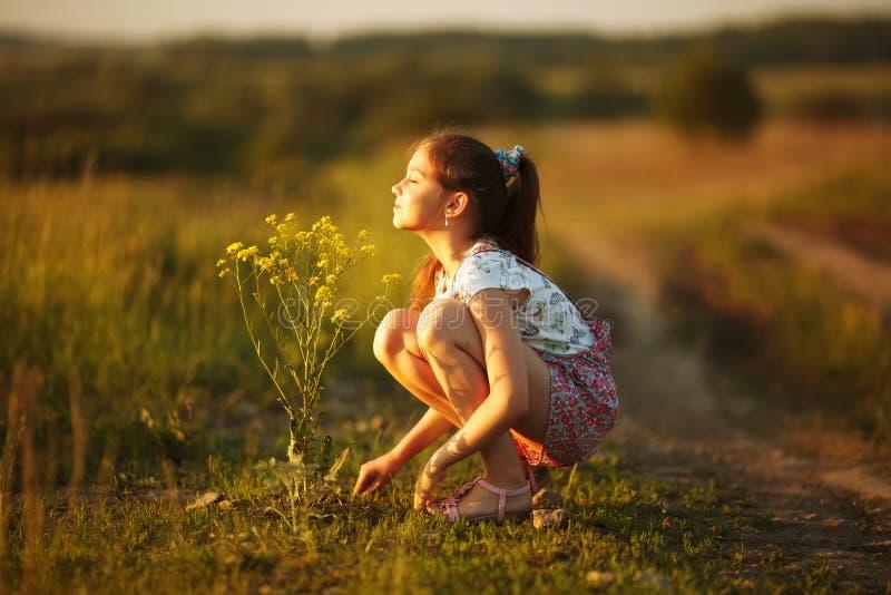 女孩吸入野花的芳香 免版税库存照片