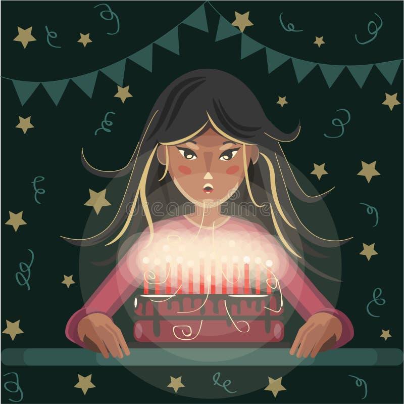 女孩吹灭在生日蛋糕的蜡烛 库存例证