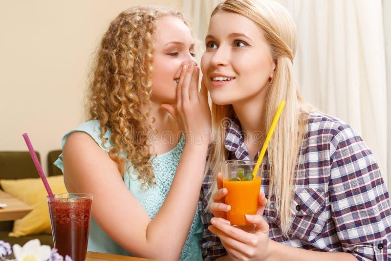 女孩告诉秘密对她的咖啡馆的朋友 免版税库存图片