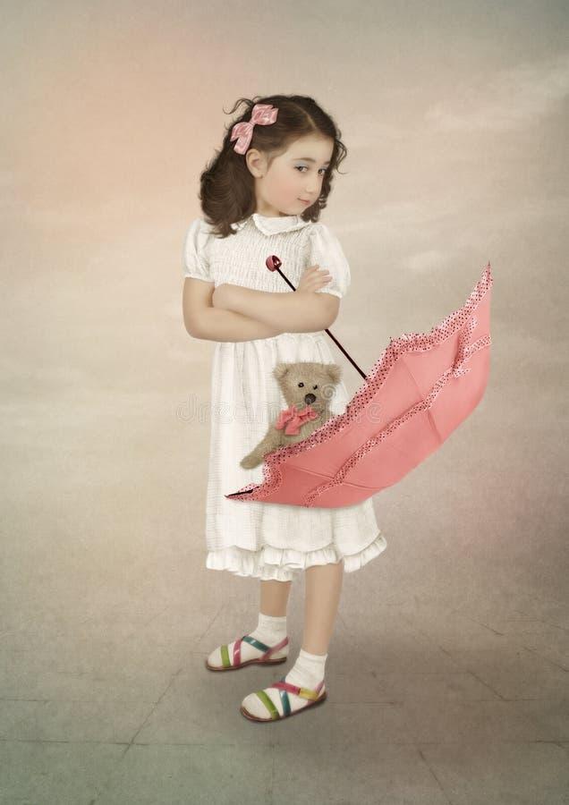 女孩和伞 免版税库存图片