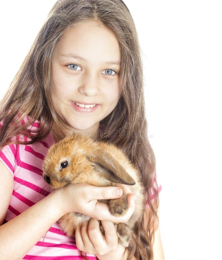 女孩和兔子 免版税库存照片