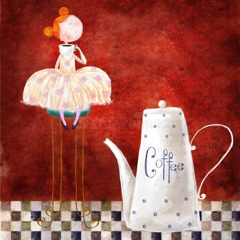 女孩和咖啡 向量例证
