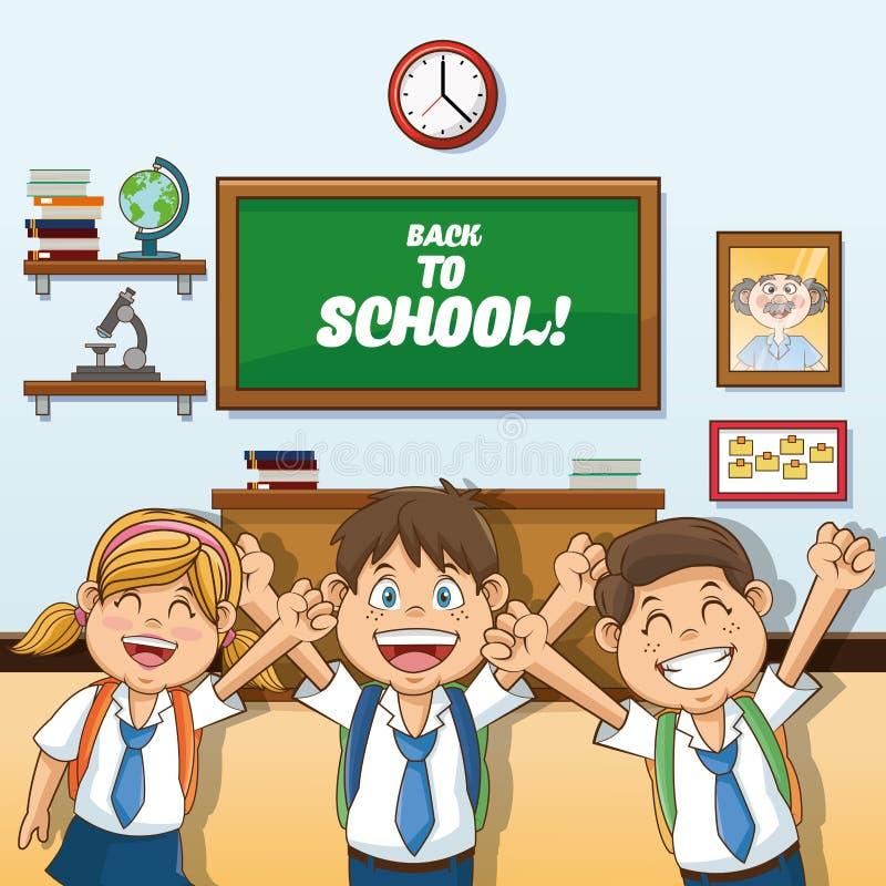 女孩和回到学校设计男孩动画片  皇族释放例证
