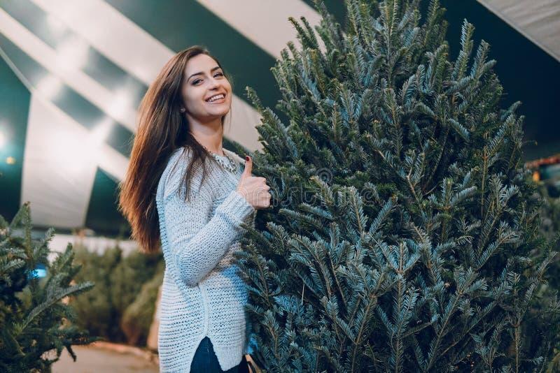女孩和圣诞树 库存照片