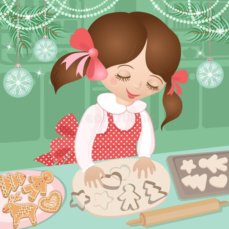 女孩和圣诞节烘烤姜曲奇饼 皇族释放例证