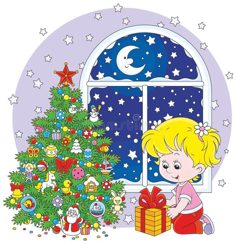 女孩和圣诞节礼物 向量例证