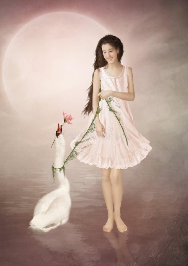 女孩和天鹅 免版税库存图片