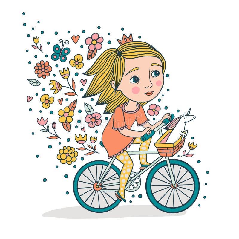 女孩和她的独角兽在自行车 皇族释放例证