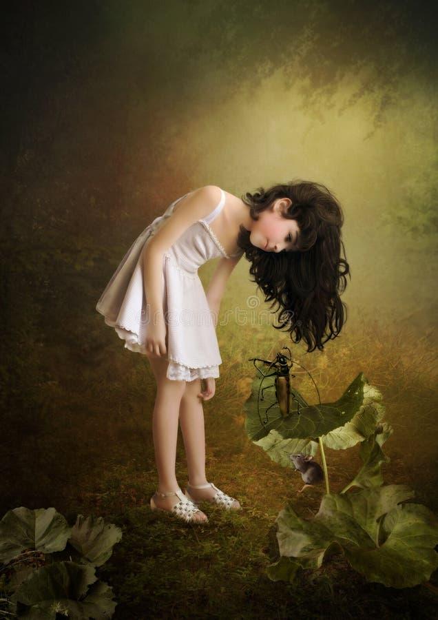 女孩和小小提琴手 图库摄影