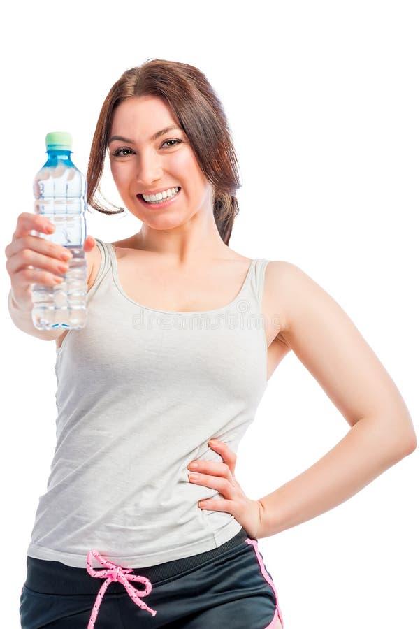 女孩和干净的饮用水 免版税图库摄影
