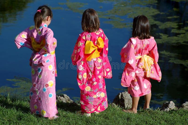 女孩和服一点三 免版税库存照片
