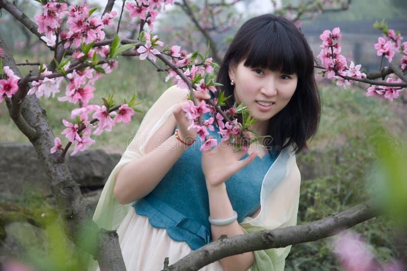 女孩和桃子开花在春天 免版税库存照片