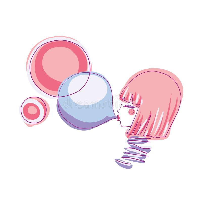 女孩和泡泡糖 库存例证