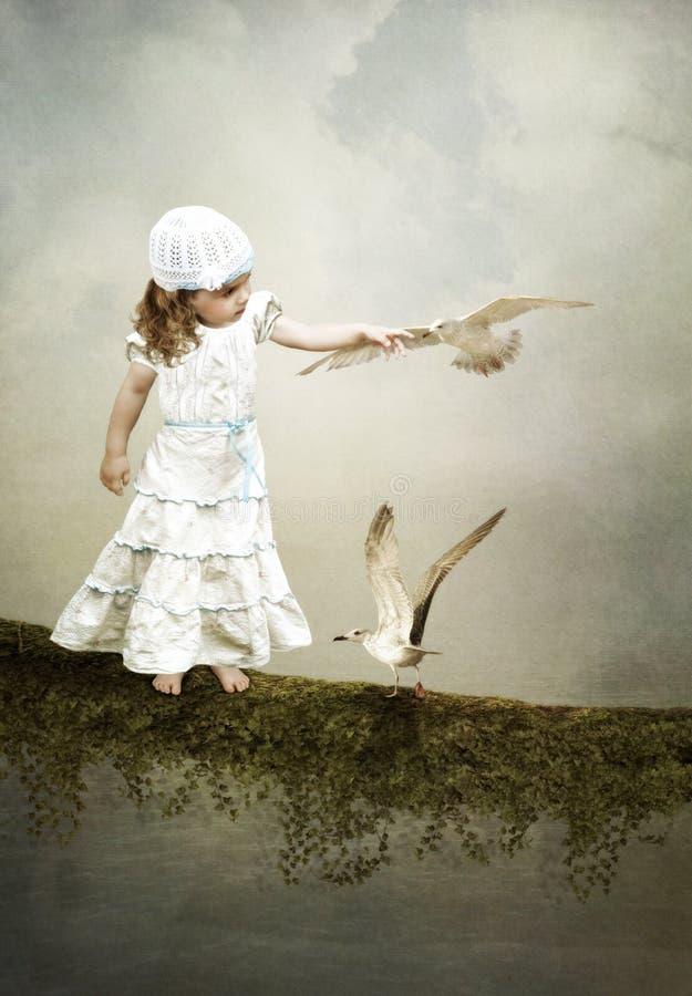 女孩和海鸥 皇族释放例证