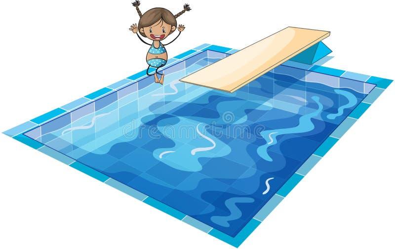 女孩和游泳坦克 向量例证
