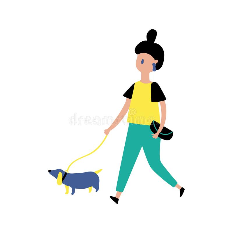 女孩和狗 库存例证