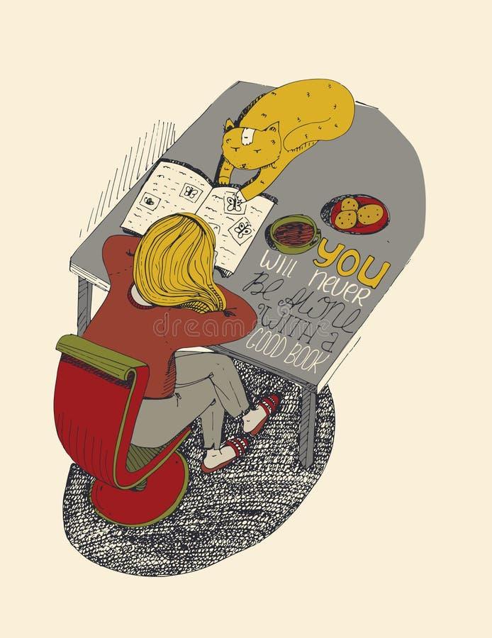 女孩和猫阅读书 向量例证