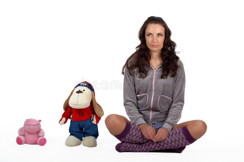 女孩和玩具 库存图片