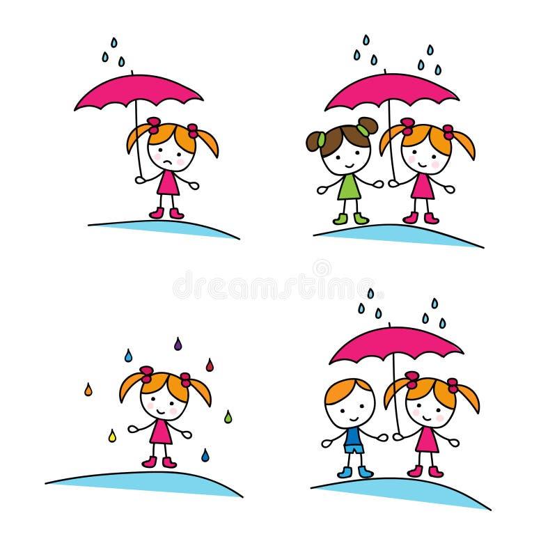女孩和男孩在伞下 向量例证