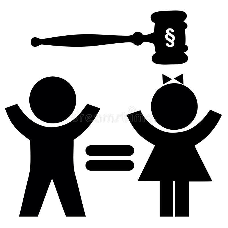 女孩和男孩的平等权利 向量例证