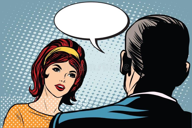 女孩和男性对话 向量例证