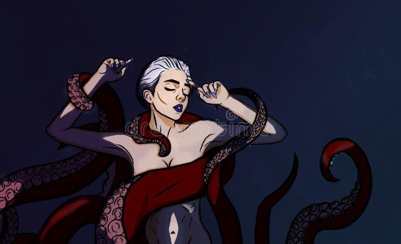 女孩和章鱼,仿照可笑样式 库存图片