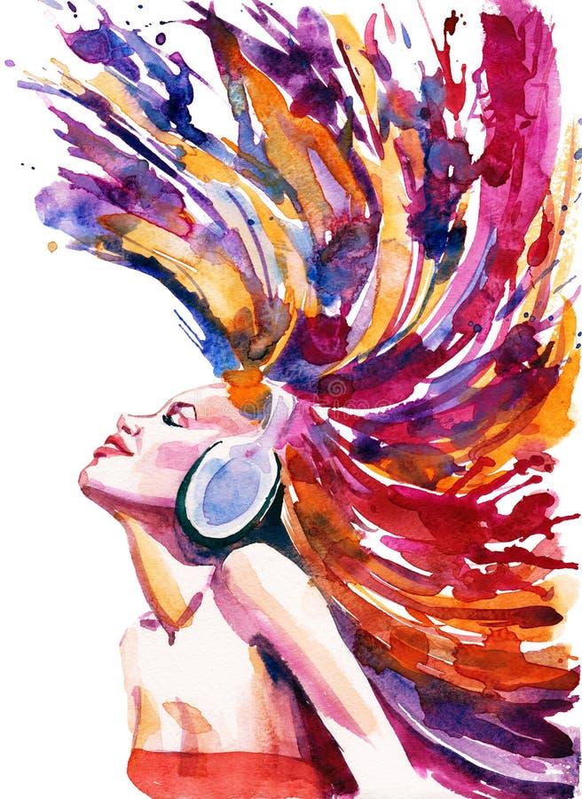 女孩和耳机 免版税库存照片