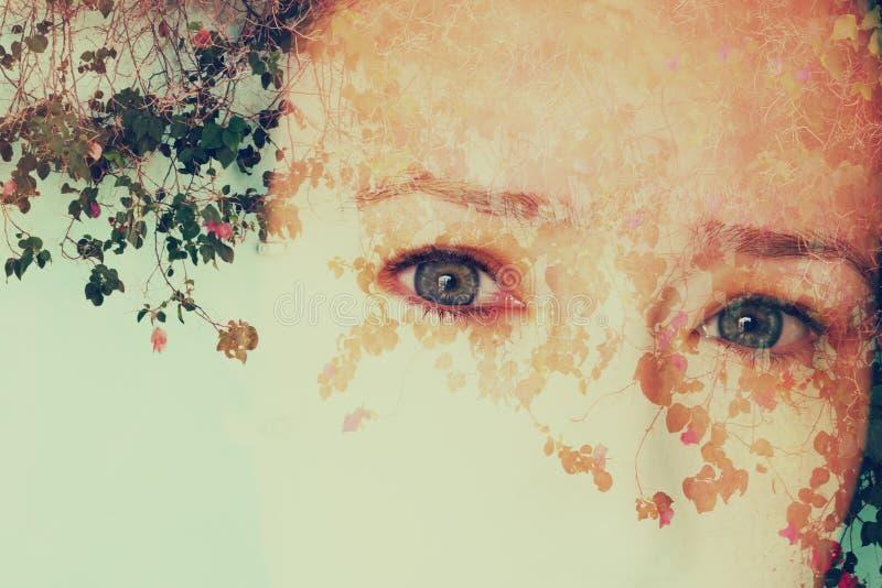 女孩和自然背景的两次曝光图象 库存照片
