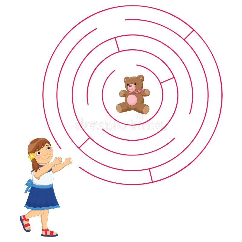 女孩和迷宫传染媒介例证 库存例证