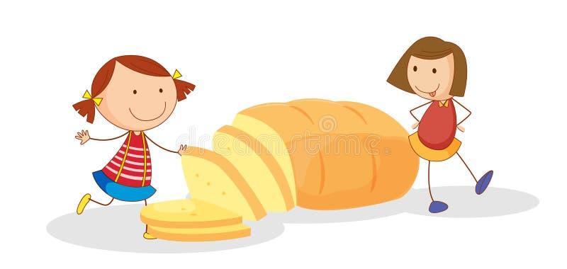 女孩和面包 库存例证