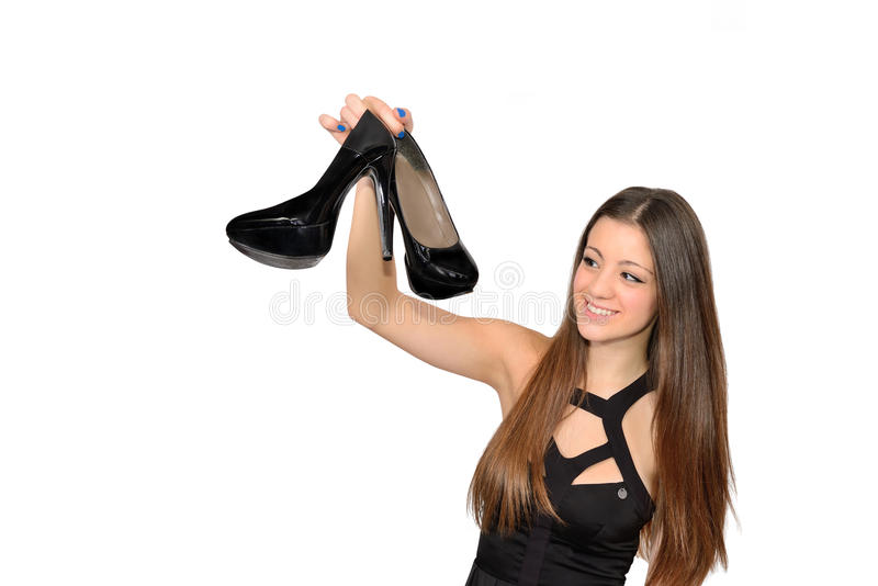 女孩和鞋子 免版税图库摄影