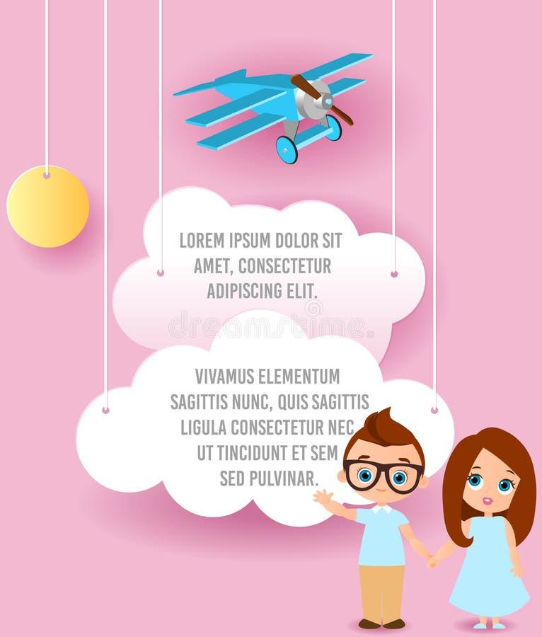 女孩和年轻男孩戴眼镜 导航云彩和平面飞行纸艺术在天空 模板与空间f的宣传手册 皇族释放例证