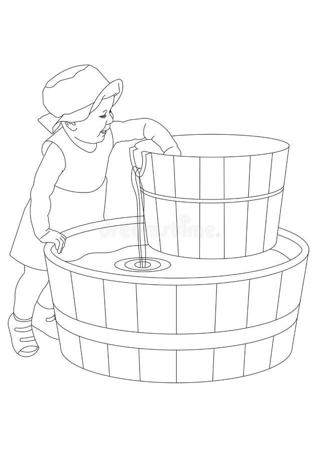 女孩和水 免版税库存图片